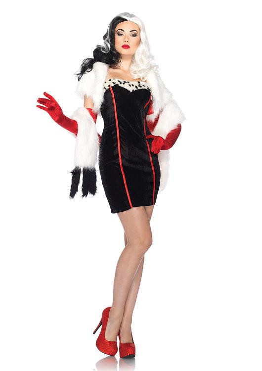 dp85076 101匹わんちゃん クルエラ 4ピースセット ディズニーコスチューム 仮装コスチューム コスプレ /LEG AVENUEレッグアベニュー コスプレ・仮装・ハロウィン・女性・大人用