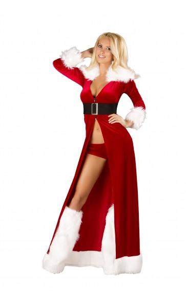 C170 セクシー ミスサンタクロース 3ピースセット ベルベット /ローマコスチューム コスプレ衣装 (クリスマス、二次会、仮装、パーティー、宴会) 女性 大人用