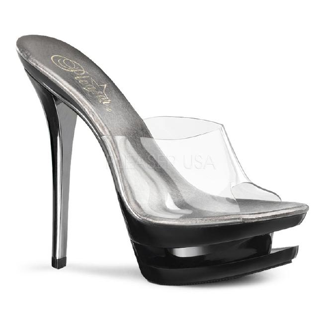 BLONDIE-601CH 6インチ(約15cm) クリア ハイヒール ピンヒール ミュール厚底サンダル /Pleaserプリーザー パーティードレス 靴 大きいサイズ