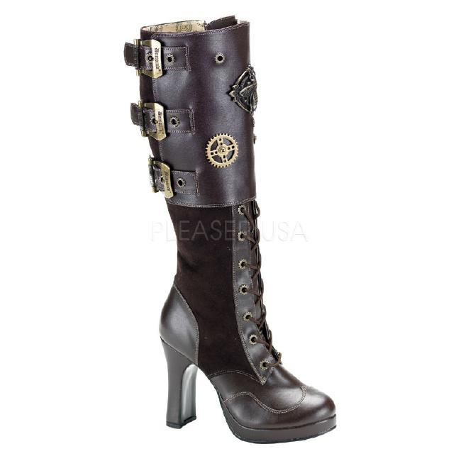 CRYPTO-302 4インチ(約10cm) ヒール スチームパンク ブーツ/Pleaserプリーザー DEMONIAデモニア ゴスロリ パンク ロック 靴 大きいサイズ