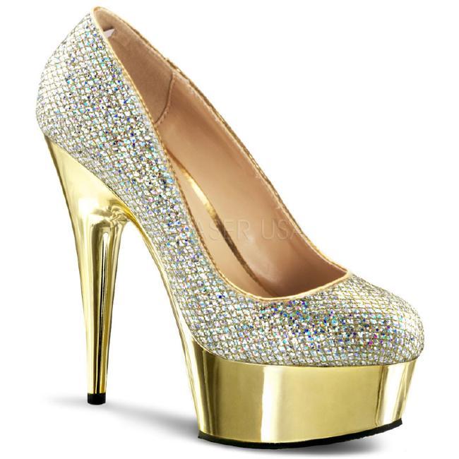 DELIGHT-685G 6インチ(約15cm) パンプスハイヒール  ピンヒール ミュール厚底サンダル /Pleaserプリーザー パーティードレス 靴 大きいサイズ