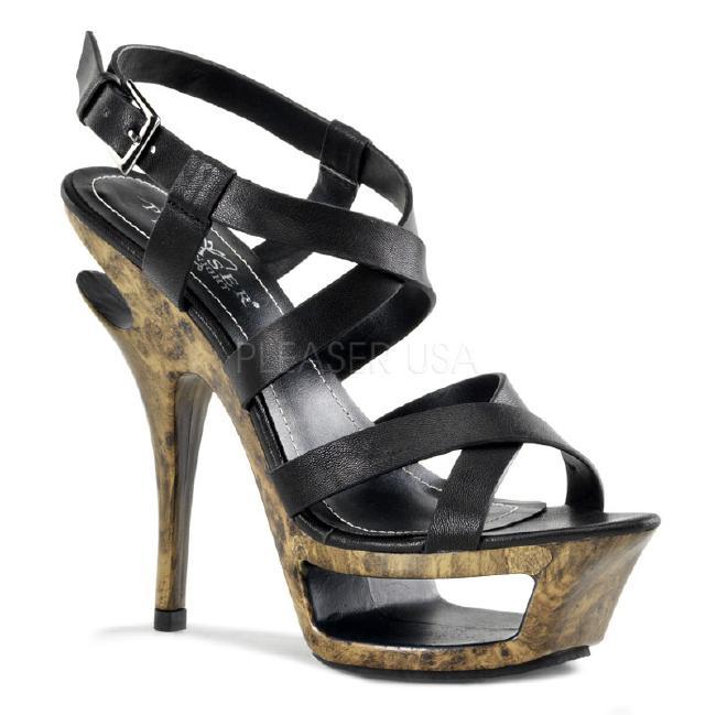 DELUXE-636 5.5インチ(約14cm) ハイヒール ミュール サンダル/PleaserプリーザーDay & Night パーティー 靴 シンデレラサイズ 大きい