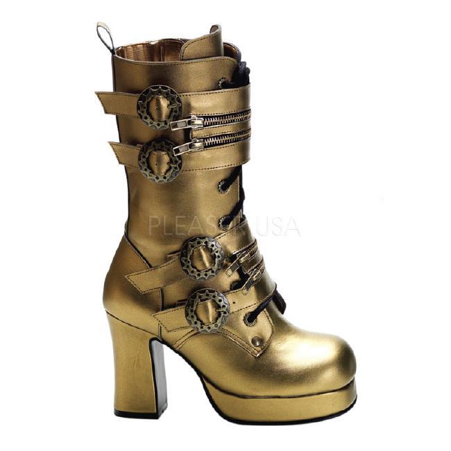 GOTHIKA-100 3.75インチ(約9.5cm) ヒール スチームパンク ブーツ/Pleaserプリーザー DEMONIAデモニア ゴスロリ パンク ロック 靴 大きいサイズ