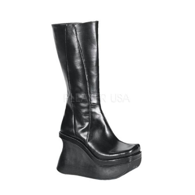 PACE-100 4.5インチ(約11.5cm) ヒール ウェッジソール ベガン ブーツ/Pleaserプリーザー DEMONIAデモニア ゴスロリ パンク ロック 靴 大きいサイズ