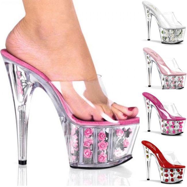 ADORE-701FL 7インチ17.8cm 薔薇バラ クリアヒール ハイヒール ピンヒール ミュール厚底 サンダル/Pleaserプリーザー パーティー 靴 シンデレラサイズ 大きいサイズ