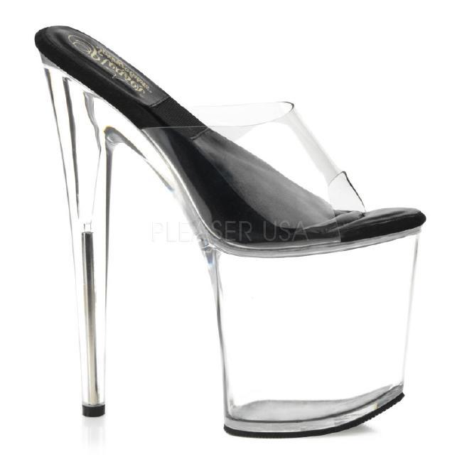 SOL-801-O 8インチ(約20cm)クリアヒール ハイヒール ピンヒール ミュールサンダル /Pleaserプリーザー パーティードレス 靴