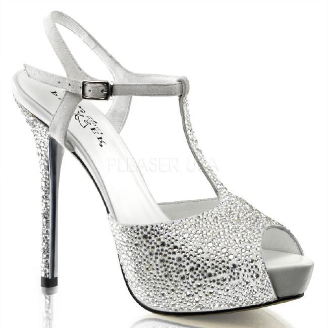 PRESTIGE-10 5インチ(約13cm) ハイヒール ミュール サンダル ラインストーン/PleaserプリーザーDay & Night パーティー 靴 シンデレラサイズ 大きい