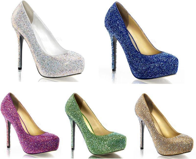 PRESTIGE-20 5インチ(約13cm) ハイヒール サンダル パンプス ラメ/PleaserプリーザーDay & Night パーティー 靴 シンデレラサイズ 大きい