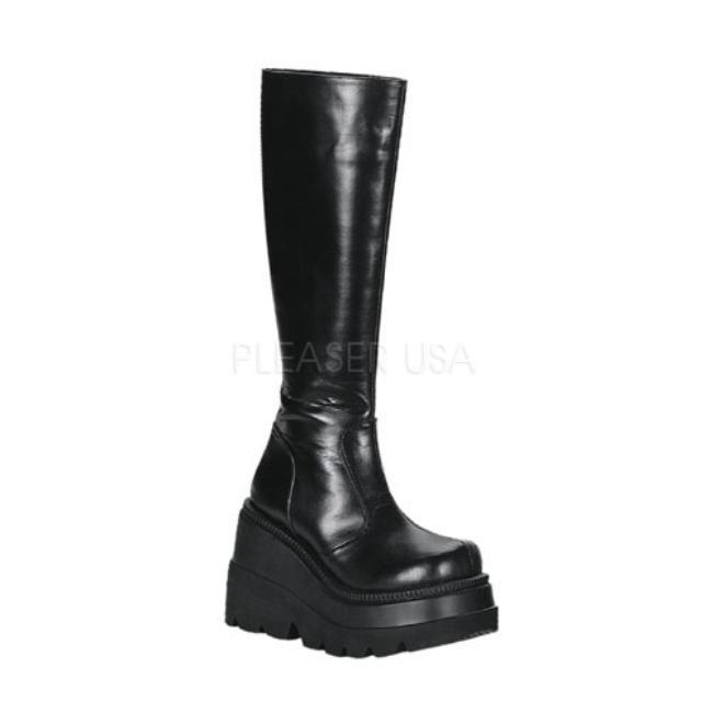 SHAKER-100 4.5インチ(約11.5cm) ヒール ベガン ブーツ/Pleaserプリーザー DEMONIAデモニア ゴスロリ パンク ロック 靴 大きいサイズ