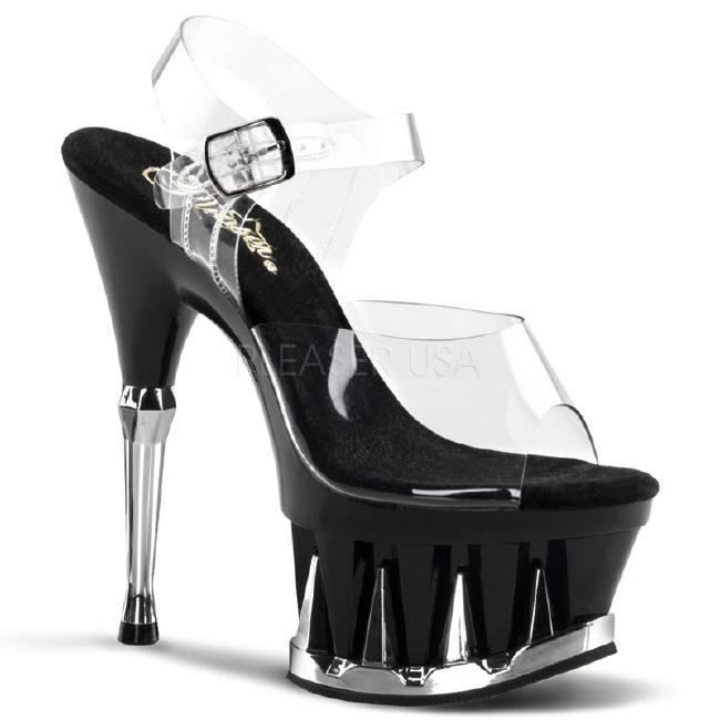 SPIKY-608 6.5インチ(約16.5cm) クリア ハイヒール  ピンヒール ミュール厚底サンダル /Pleaserプリーザー パーティードレス 靴 大きいサイズ