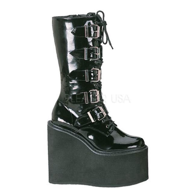 SWING-220 5.5インチ(約14cm) ヒール ベガン ブーツ/Pleaserプリーザー DEMONIAデモニア ゴスロリ パンク ロック 靴 大きいサイズ