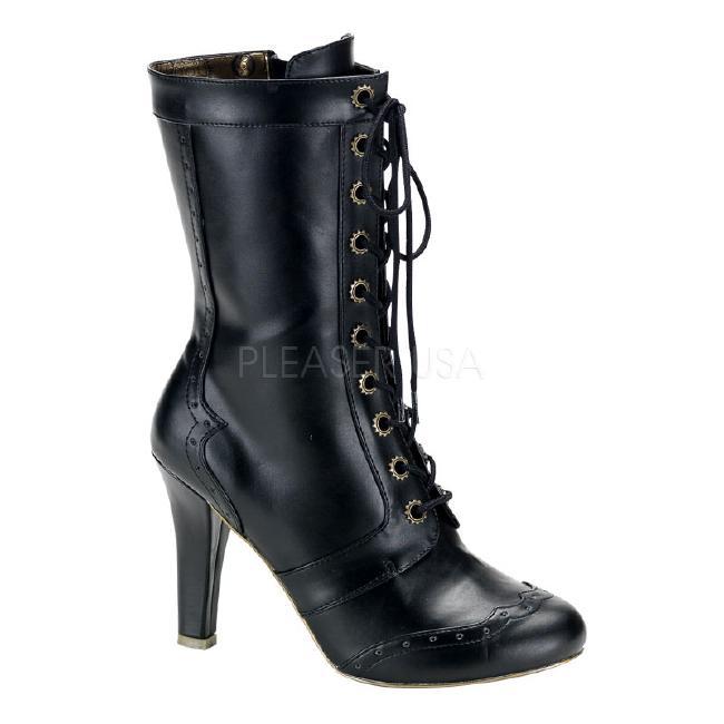 TESLA-102 4インチ(約10cm) ヒール スチームパンク ブーツ/Pleaserプリーザー DEMONIAデモニア ゴスロリ パンク ロック 靴 大きいサイズ
