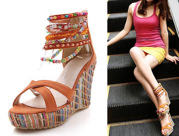 【全4色】ウェッジソールビーズサンダル/靴レディースサイズ交換1回