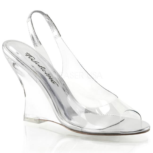 LOVELY-450 4インチ(約10cm) ウェッジ ヒール  クリア厚底サンダル /Pleaserプリーザー パーティー 靴 大きいサイズ