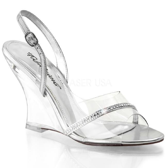 LOVELY-456 4インチ(約10cm) ウェッジ ヒール クリア 厚底サンダル /Pleaserプリーザー パーティー 靴 大きいサイズ