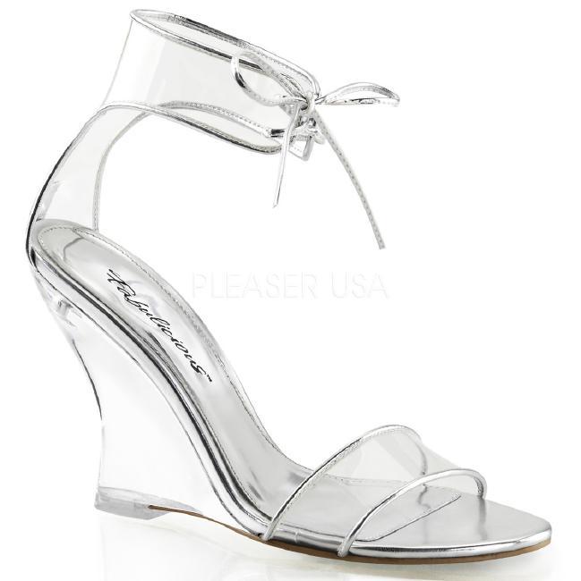 LOVELY-460 4インチ(約10cm) ウェッジ ヒール クリア 厚底サンダル /Pleaserプリーザー パーティー 靴 大きいサイズ