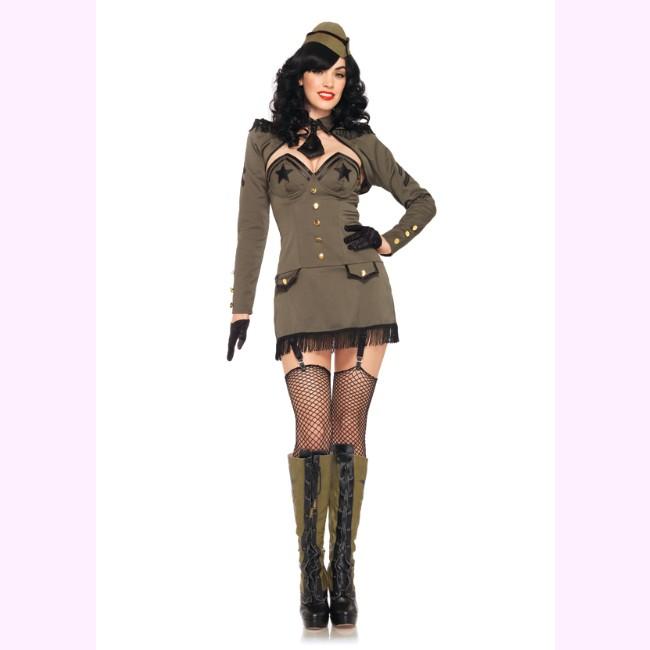 83955ボディラインを美しく魅せるピンナップ・アーミーガールコスチューム☆5ピースセット セクシーコスチューム コスプレ /レッグアベニュー  コスプレ・仮装・ハロウィン・女性・大人用