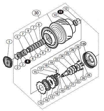 ●シマノ 13ステラSW 20000PG(03073)用 純正標準スプール (パーツ品番105) 【キャンセル及び返品不可商品】 【まとめ送料割】