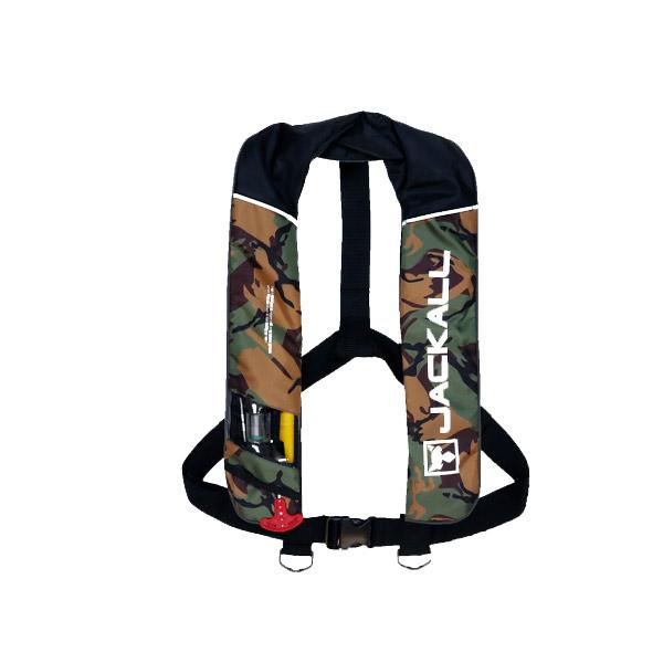 ●ジャッカル サスペンダータイプ自動膨張式ライフジャケット JK2520RS グリーンカモ/ブラック (水感知機能付) 国土交通省承認品 タイプA 桜マーク有 【まとめ送料割】