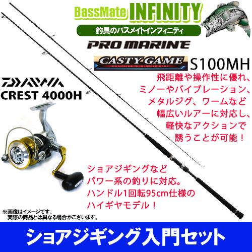 【ショアジギング入門セット】●プロマリン キャスティーゲーム S100MH+ダイワ 16 クレスト 4000H