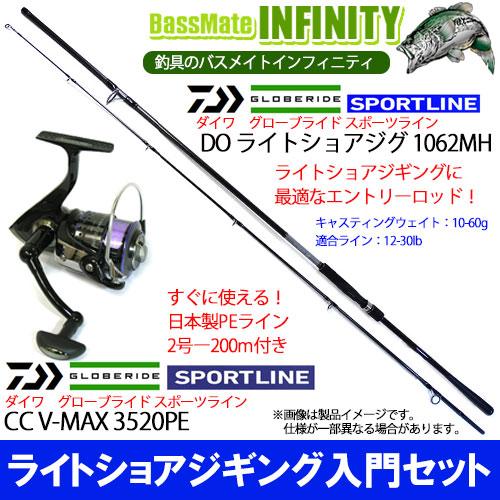 【PE2号-200m糸付き】【ライトショアジギング入門セット】スポーツライン SPORTLINE DO ライトショアジグ 1062MH+スポーツライン SPORTLINE CC V-MAX 3520PE