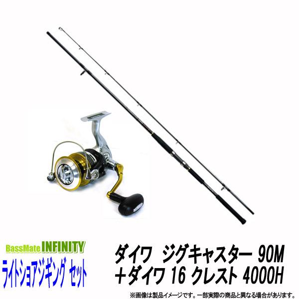 ●ダイワ ジグキャスター 90M+ダイワ 16 クレスト 4000H(ハイギヤ仕様) 【ライトショアジギング入門セット】