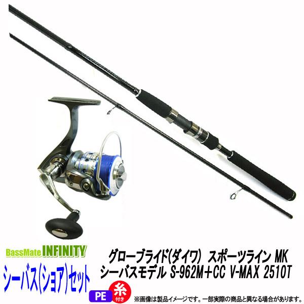 【PE1号(130m)糸付き】【シーバス(ショア)入門セット】グローブライド(ダイワ) スポーツライン MK シーバスモデル S-962M+CC V-MAX 2510T
