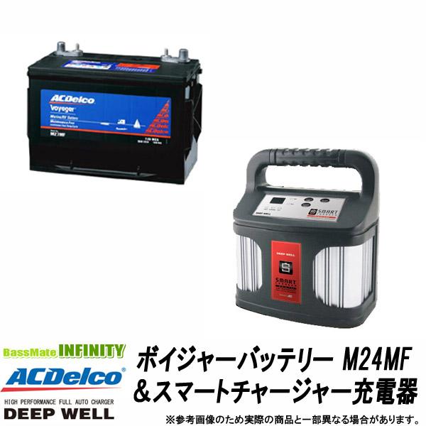 【送料無料】ACデルコ ボイジャーバッテリー80A(M24MF)&DEEP WELL スマートチャージャー充電器(DW-15S)セット