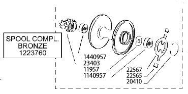 ●アブガルシア アンバサダー6500C ROCKET 銀(1222451)用 純正標準スプール (パーツID1223759) 【キャンセル及び返品不可商品】 【まとめ送料割】