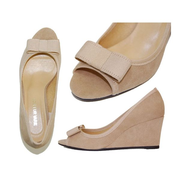 Wedge sole pumps 10P03Dec16 where No. 536/ opening toe and ribbon are feminine