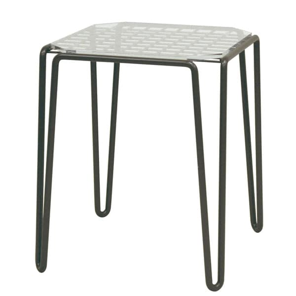 Side Table Wireframe Acrylic Top Plate Brown