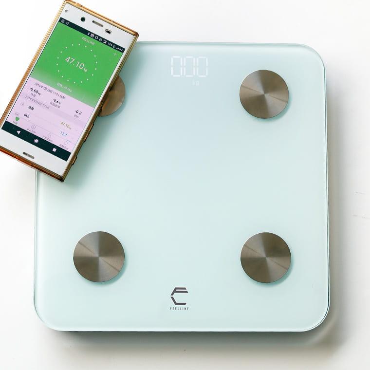 体重計 スマホ連動 体組成計 身体測定器 「FEELLINE(フィールライン)ATW」体重体組成計【体脂肪計 内臓脂肪 専用アプリ bluetooth CSV BMI 骨量 タンパク質 基礎代謝 筋肉量】【あす楽】