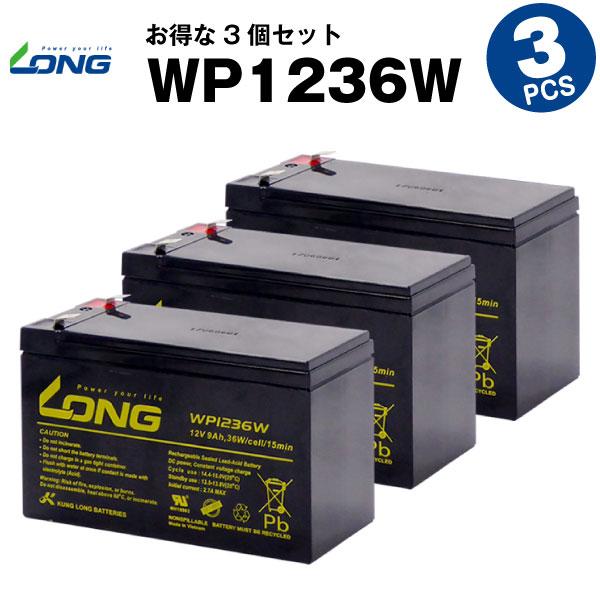 WP1236W【お得!3個セット】(産業用鉛蓄電池)【新品】■■LONG【長寿命・保証書付き】Smart-UPS 750 など対応【サイクルバッテリー】