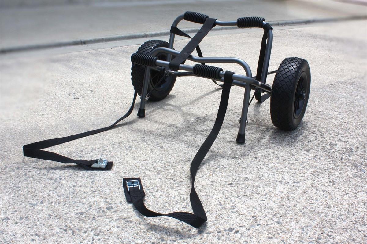 カヌー/カヤックカートPUパンク知らずのノーパンクタイヤタイヤは簡単取りはずしOK!コンパクトに畳めるからカヤックに搭載もできます。