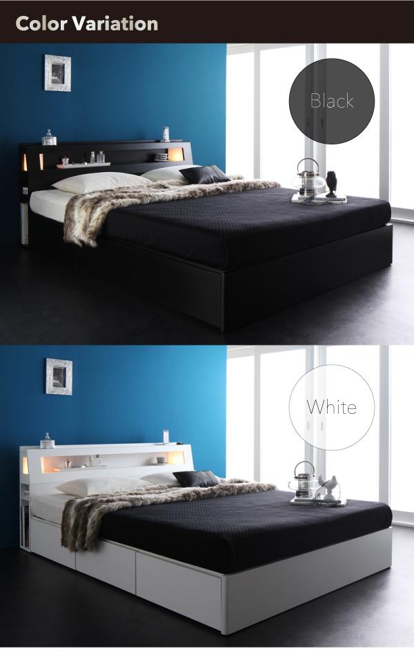 引き出し付きベッド 照明付き コンセント付き 収納ベッド 【Farben】 ファーベン 【マルチラススーパースプリングマットレス付き】 クイーンサイズ クイーンベッド クイーンベット クィーン