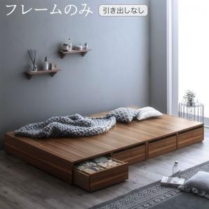 選べる引出収納付きシンプルデザインローベッド Menoce メノーチェ ベッドフレームのみ 引き出しなし セミダブルサイズ