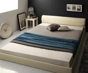 レザーベッド フロアベッド 高級感 モダンデザイン ローベッド GIRA SENCE ギラセンス 羊毛入りゼルトスプリングマットレス付き ダブルサイズ