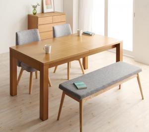 北欧デザイン エクステンション ダイニング Fier フィーア 4点セット(ダイニングテーブル + チェア2脚 + ベンチ1脚) W145-205 拡張 伸張 伸縮