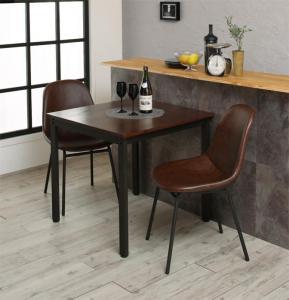 天然木パイン無垢材ヴィンテージデザインダイニング Liage リアージュ 3点セット(ダイニングテーブル + チェア2脚) W75