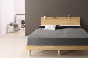 棚・コンセント付きデザインすのこベッド Camille カミーユ 国産カバーポケットコイルマットレス付き ダブルサイズ