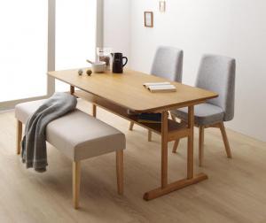 回転イス付き 北欧デザイン2本脚ダイニングテーブルセット woda ヴォダ 4点セット(テーブル + チェア2脚 + ベンチ1脚) W150