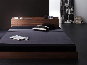 新生活おすすめの10億円売れたフロアベッドシリーズ スタンダードボンネルコイルマットレス付き 棚・コンセント付 シングルサイズ