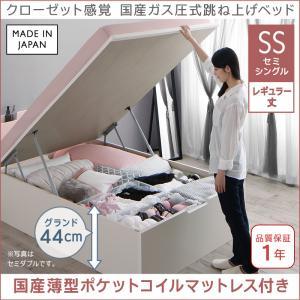 クローゼット感覚ガス圧式跳ね上げベッド aimable エマーブル 国産薄型ポケットコイルマットレス付き 縦開き セミシングル レギュラー丈 深さグランド(代引不可)