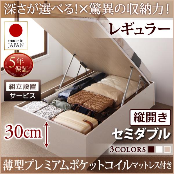 組立設置付 国産 跳ね上げ式ベッド 収納ベッド Regless リグレス 薄型プレミアムポケットコイルマットレス付き 縦開き セミダブル 深さレギュラー(代引不可)