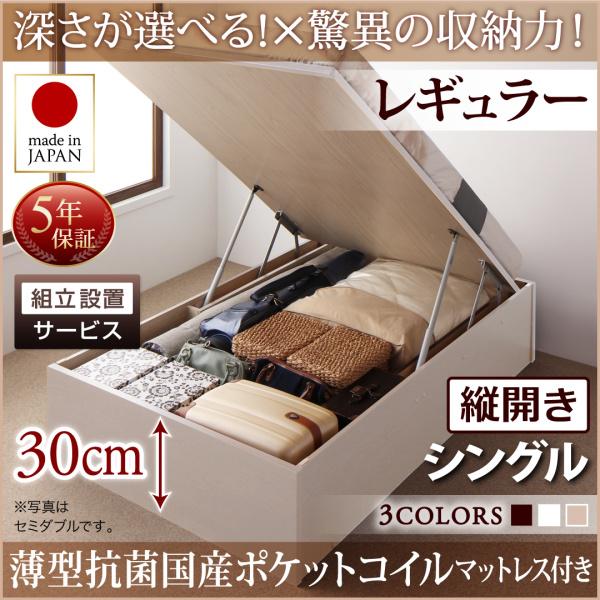 組立設置付 国産 跳ね上げ式ベッド 収納ベッド Regless リグレス 薄型抗菌国産ポケットコイルマットレス付き 縦開き シングル 深さレギュラー(代引不可)