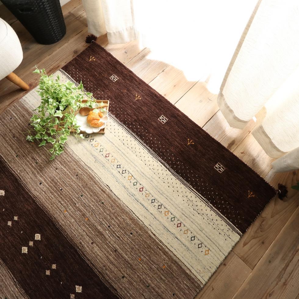 ラグ マット 絨毯 イタリアンウールギャベ 約190x240cm ギャベ インド ウール 100% 長方形 手織り じゅうたん ホットカーペット対応 床暖 北欧 リビング用 居間用 かわいい おしゃれ 新生活 インテリア