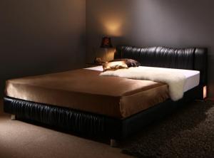 照明付き コンセント付き モダンデザイン ベッド Vesal ヴェサール スタンダードボンネルコイルマットレス付き セミダブルサイズ