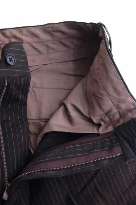 ニードルス Needles スラックスパンツ メンズ茶系 × 白系 JPN S ストライプ柄スラックスパンツ ブランド古着バズストアBAZZSTORE1409199IW2EHD