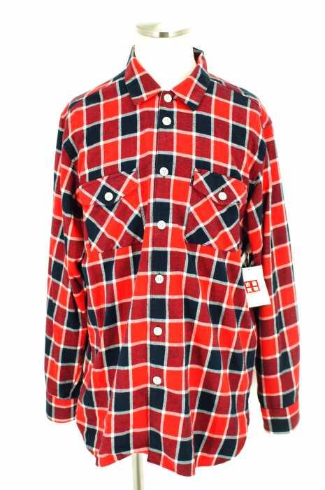 シュプリーム Supreme ネルシャツ メンズ - ホワイト × レッド × ネイビー import:XL チェック柄ボタンシャツ【中古】【ブランド古着バズストア】【050518】