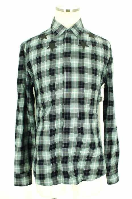 ジバンシィ GIVENCHY ネルシャツ メンズ - グレイ × ブラック 39 比翼 スタープリント【中古】【ブランド古着バズストア】【060218】